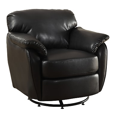 Monarch Look Swivel Accent Chair PU, Wood, Foam Accent Chair Black