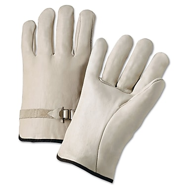 Anchor Brand Premium Driver Gloves, Cowhide Leather, Hemmed Cuff, Large, Natural, 12 Pairs