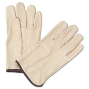 Anchor Brand Standard Driver Gloves, Grain Pigskin, Hemmed Cuff, Large, Tan, 12 Pairs