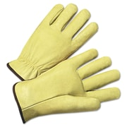 Anchor Brand Standard Driver Gloves, Grain Pigskin, Hemmed Cuff,  X-Large, Tan, 12 Pairs