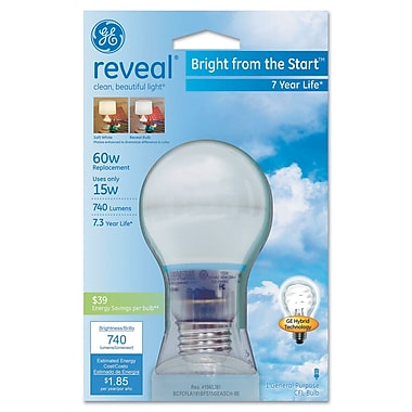 15 Watt GE reveal Bright from the Start A19 CFL, Soft White
