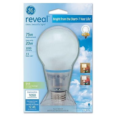20 Watt GE reveal Bright from the Start A19 CFL, Soft White