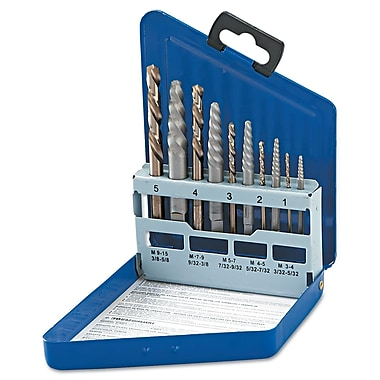 HANSON® Spiral Flute Extractor And Drill Bit Set, 10 pcs