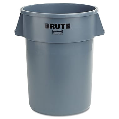 Rubbermaid® Commercial Brute® Round Container, Gray, 44 gal