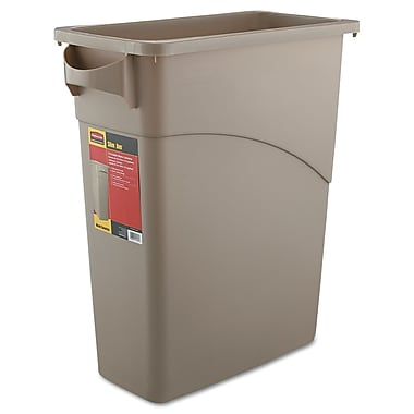 Rubbermaid® Commercial Slim Jim® Waste Container With Handles, Beige, 15.87 gal