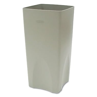 Rubbermaid Commercial Plaza Waste Container Rigid Liner Square Plastic Beige