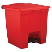 Rubbermaid® Commercial Plastic Step-On Receptacle Waste Container, Red, 8 gal