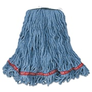 Rubbermaid Commercial Web Foot Looped-End Wet Mop Head, Cotton/Synthetic, Medium Size Blue