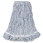 "Rubbermaid Commercial Web Foot Finish Mops, Cotton/Synthetic, Large, 1"" White Headband White"