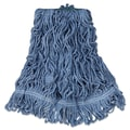 Rubbermaid Commercial Super Stitch Blend Mop Heads Cotton/Synthetic Blue Medium 6/Carton Blue