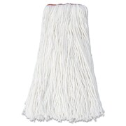 "Rubbermaid Commercial Premium Mop Heads, Rayon, Cut-End, 16oz, 1"" Orange Headband White"