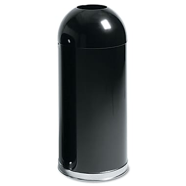 Rubbermaid® Commercial European & Metallic Series Open Top Receptacle, Black, 15 gal