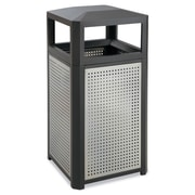 Safco® Side Opening Steel Waste Receptacle, 15 gal, Black/Gray