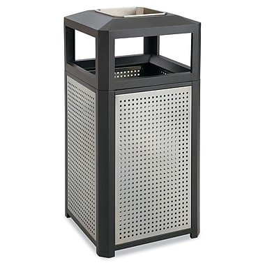 Safco® Side Opening Steel Waste Receptacle With Ash Tray, 15 gal, Black/Gray