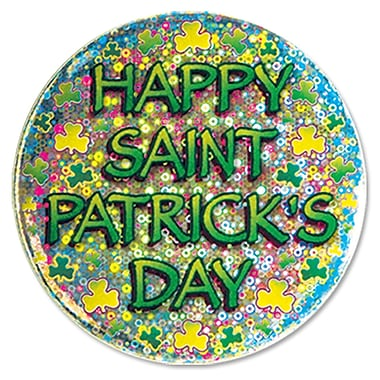 Beistle – Bouton « Happy St Patrick's Day », 3 1/2 po, paquet de 7