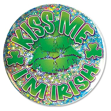 Beistle – Bouton « Kiss Me I'm Irish », 3 1/2 po, paquet de 7