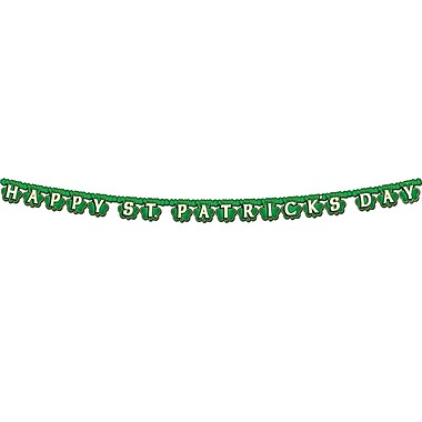Beistle Shamrock Happy St Patrick's Day Streamer, 4-1/4