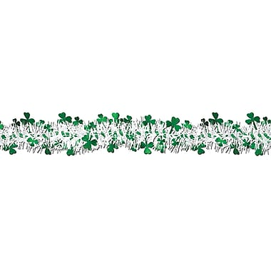 Beistle Flame Resistant Metallic Shamrock Garland, 12', 3/Pack