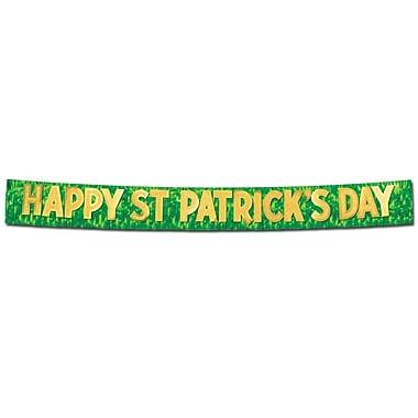 Beistle – Bannière « Happy St Patrick's Day » métallisée, 10 po x 10 pi, paquet de 2