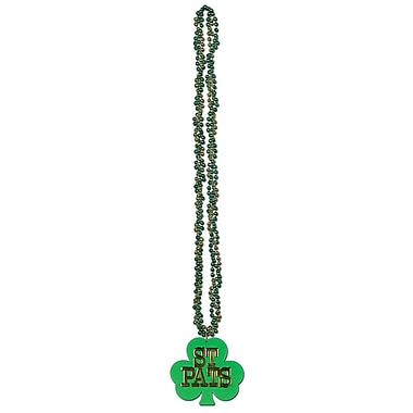 Beistle Braided Combination of Green and Gold Beads With Shamrock Medallion, 36