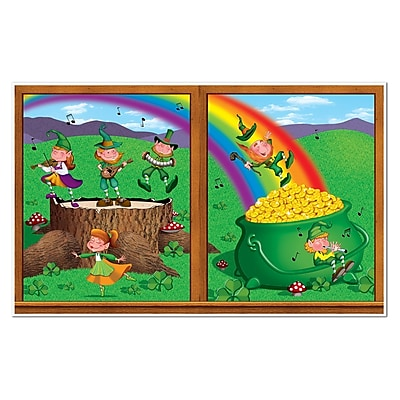 """""Beistle 3' 2"""""""" x 5' 2"""""""" St Patricks Day Backdrop, 2/Pack"""""" 1066147"
