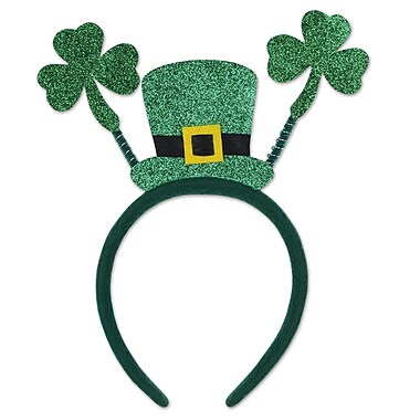 Beistle Glittered Shamrock Boppers With Top Hat, 3/Pack