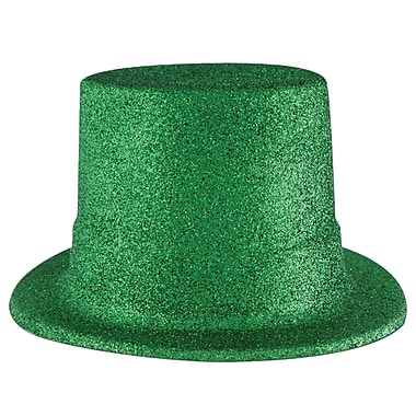 Beistle Green Glittered Top Hat, 3/Pack