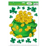 """Beistle 12"""" x 17"""" Pot-O-Gold Clings, Green/Gold, 77/Pack"""