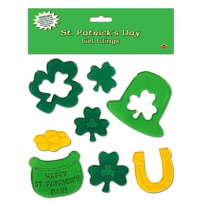 """""""""""Beistle 7 1/2"""""""""""""""" x 7 1/2"""""""""""""""" St. Patrick's Day Gel Clings, 40/Pack"""""""""""" 1066071"""