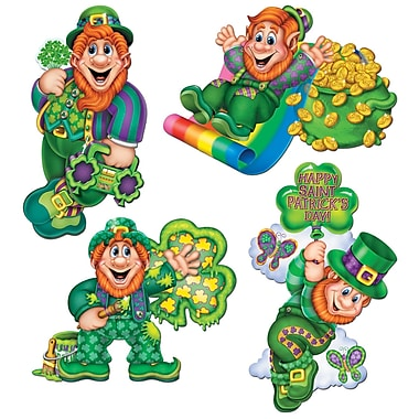 Beistle Packaged Leprechaun Cutouts, 14