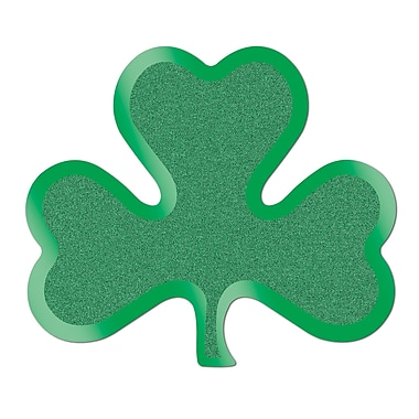 Beistle Glittered Foil Shamrock Cutouts, 13