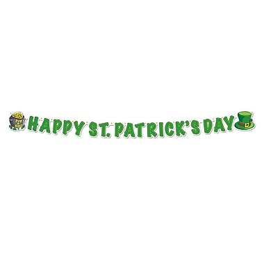Beistle – Banderole « Happy St Patrick's Day », 5 po x 5 pi, paquet de 5