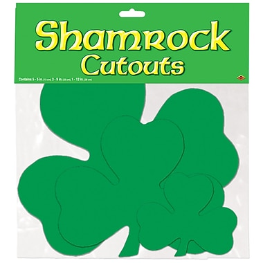 Beistle Packaged Printed Shamrock Cutouts, Assorted Sizes, 36/Pack