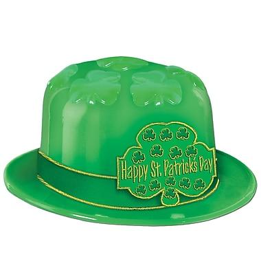 Beistle – Chapeau en plastique de la Saint-Patrick avec banderole imprimée de trèfles, taille universelle, paq./25