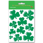 "Beistle 4 3/4"" x 7 1/2"" Shamrock Sticker, 28/Pack"