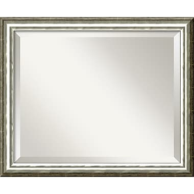 Amanti Art 22.62in. x 18.62in. SoHo Medium Wall Mirror, Light Silver/Black
