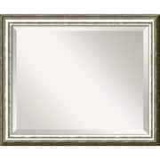"Amanti Art 22.62"" x 18.62"" SoHo Medium Wall Mirror, Light Silver/Black"