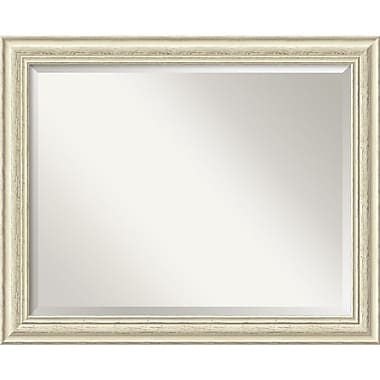Amanti Art 32.38in. x 26.38in. Country Large Wall Mirror, Distressed Whitewash