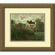 "Amanti Art Monet ""The Artist's Garden at Argenteuil, 1873"" Framed Art, 14.12"" x 16.12"", Antique Gold"