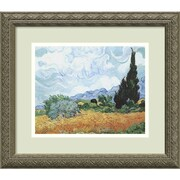 "Amanti Art Vincent Van Gogh ""Yellow Wheat and Cypresses, c. 1889"" Framed Print Art, 14.12"" x 16.12"""