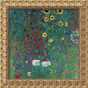 "Amanti Art Gustav Klimt ""Farm Garden With Sunflowers, c.1906"" Framed Canvas Art, 19 1/2"" x 19 1/2"""