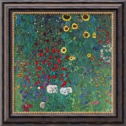 "Amanti Art Gustav Klimt ""Farm Garden With Sunflowers, c.1906"" Framed Canvas Art, 20"" x 20"""
