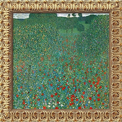 """""Amanti Art Gustav Klimt """"""""Field Of Poppies (Campo di Papaveri)"""""""" Framed Canvas Art, 19 1/2"""""""" x 19 1/2"""""""""""""" 966447"