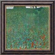 Amanti Art Gustav Klimt Field Of Poppies (Campo di Papaveri) Framed Canvas Art, 20 x 20