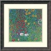 "Amanti Art Gustav Klimt ""Farm Garden With Sunflowers, c.1906"" Framed Print Art, 18 1/4"" x 18 1/4"""