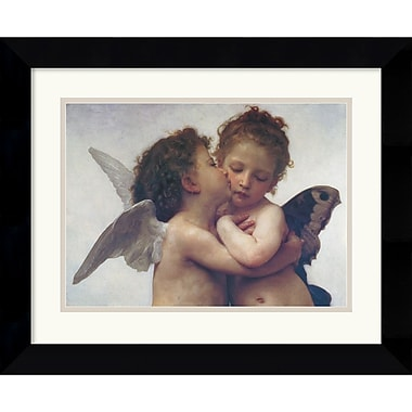 Amanti Art William Adolphe Bouguereau in.The First Kissin. Framed Print Art, 17.62in. x 21.62in.