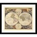 Amanti Art Ria Visscher in.New World Map, 17th Centuryin. Framed Print Art, 32.62in. x 38.62in.