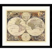 """Amanti Art Ria Visscher """"New World Map, 17th Century"""" Framed Print Art, 32.62"""" x 38.62"""""""