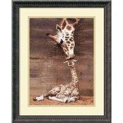 "Amanti Art Ron D'Raine ""Makulu - Giraffe First Kiss"" Framed Animal Art, 22 1/4"" x 18 1/4"""