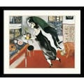Amanti Art Marc Chagall in.Birthdayin. Framed Print Art, 32.38in. x 38.62in.
